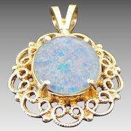 14K Yellow Gold Filigree 3.00 Karat Doublet Opal Pendant