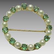 14K Yellow Gold Pearl & Chrome Tourmaline Circle Brooch
