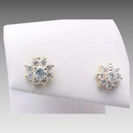 14K Yellow Gold Simulated Diamond FLOWER Pierced Post Studs