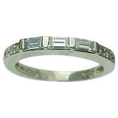 14K White Gold Simulated Diamond Baguette Wedding Band/Ring