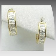 14K Yellow Gold 2.00 Carat Princess Cut Simulated Diamond Hoops