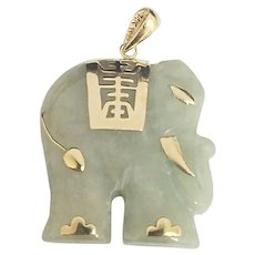 14K Gold Carved Jade Elephant Pendant #V02