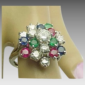 14k White Gold Diamond, Sapphire, Emerald Custom Cluster Ring