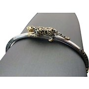 14K Two Tone Gold 3 Dimensional Panther Bangle