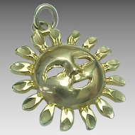 Vintage 14K Yellow Gold, Smiling Sun Charm