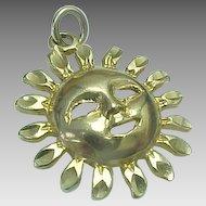 Vintage 14K Yellow Gold, Smiling Sun Charm