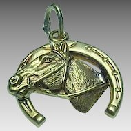 Vintage 14K Good Luck Horse shoe Charm
