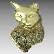 14K Yellow Gold, Large Cats Head Pendant