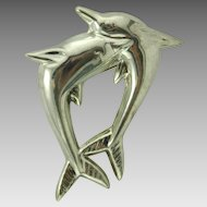Mexican Sterling Silver Double Dolphin Brooch Signed Hectors