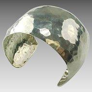 Handmade Wide Hammered Sterling Silver Cuff Bracelet