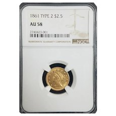 Stunning ☆RARE☆ 1861 Type 2 $2.50 Gold Liberty NGC AU58 ☆Civil War Era☆ #2740423-001.