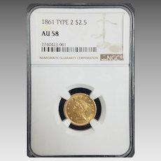 Stunning ☆RARE☆ 1861 Type 2 $2.50 Gold Liberty NGC AU58 ☆Civil War Era☆ #2740423-001.