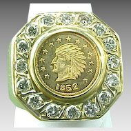Custom Made 14K Gold Massive 1852 $1.00 Gold Coin Ring in Diamond Bezel