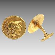 Stunning Handcrafted Victorian Era 18 Karat Yellow Gold Roman Soldier Cufflinks.