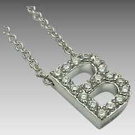 "18K White Gold Diamond Encrusted Letter B Pendant 18"" Necklace"