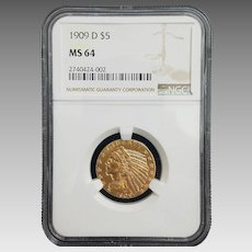 Stunning ☆Extremely Rare☆ 1909 D $5 Indian Gold Half Eagle MS-64 NGC #2740424-002.
