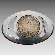 Vintage 1921 Silver Dollar Belt Buckle ~ Hand made~