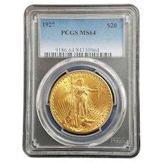 Stunning 1927 $20 Gold Saint Gaudens PCGS MS64.