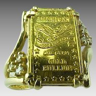Vintage Gold Bar 1 gram .999 Fine Gold & Diamond Ring