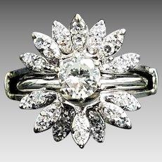 Beautiful Custom Vintage 14 Karat White Gold SI2-SI3 H-J 1.00 CTW Diamond Engagement Ring Set #VC.