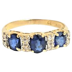 Stunning Custom Handmade 14 Karat Yellow Gold 1.50 Carat 3 Stone Blue Sapphire and Diamond Ring #V21.