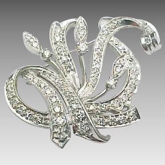 14K White Gold 1.50 Diamond Custom Brooch ~ GIA Cert
