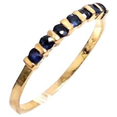Handmade 14 Karat Gold 1/5 CTW Sapphire Anniversary Ring / Wedding Band