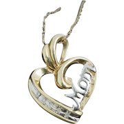 "Stunning Handcrafted Solid 10 Karat Yellow & White Gold 21.50mm Diamond Mom Heart Pendant W/18"" Chain."