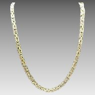 """Vintage Sterling Silver Solid Kings Link Chain 24"""""""