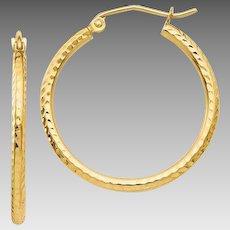 Beautiful 14 Karat Yellow Gold 25mm Diamond-Cut 1.75mm Round Tube Hoop Earrings. #VE66
