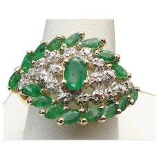 10K Yellow Gold 2.00 Carat Emerald And Diamond Ring