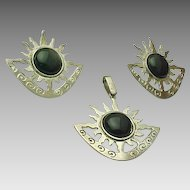Mexico Sterling Silver 3 Piece Set Bursting Sun Onyx Earrings And Pendant