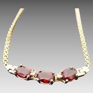 14K Yellow Gold 3.00 Carat Garnet & Diamond Necklace