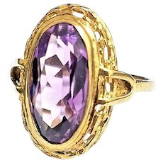 Victorian Era 9 Karat Yellow Gold 4.50 Carat Oval Amethyst Cocktail Ring