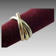 Vintage 14 K Tri Colored Intertwining Rolling Ring