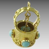Exquisite 18K Persian Turquoise Wishing Well Pendant/Charm