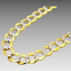 "Stunning 10 Karat 5.00mm Two-Tone Diamond Cut 30"" Curb Link Chain Necklace."