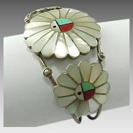 Vintage Zuni Larry and Lorinda Dickson, Mosaic Inlay Sun face Cuff Bracelet