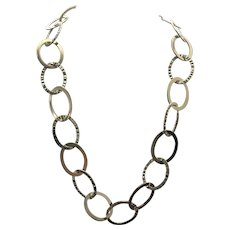 "Sterling Silver/Vermeil Oval Link Necklace 16"" - 18"""