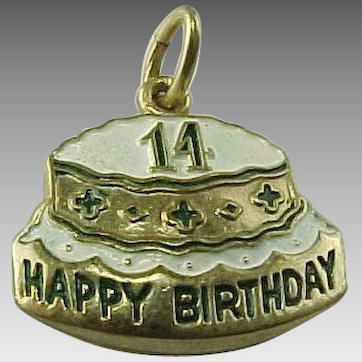 Vintage Gold Filled Happy 14 Birthday Cake Charm King Davids