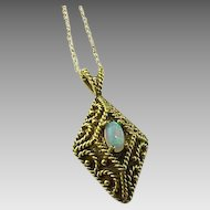 Vintage Exquisite Natural Fire Opal 14k Gold Filigree Pendant & Chain