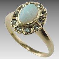 Late 1800's  Stunning Opal & Rose Cut Diamond Ring