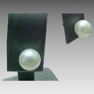 Vintage 7 mm Akoya Cultured Pearl Stud Earrings, Very Sophisticated and Simple
