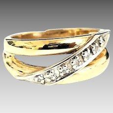 Beautiful Custom Handmade 14 Karat Yellow and White Gold 7.5mm Diamond Band Ring #V14.