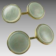 Vintage 14 K Gold Mother Of Pearl Cufflinks