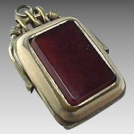 Victorian Gold Filled Reversible Carnelian & Onyx Locket Fob