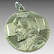 Theda ~ Sterling Silver Raised Jesus Head Pendant ~ Reverse Reads I am A Protestant