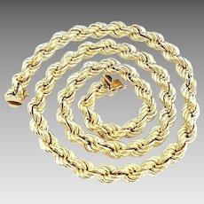 "Stunning Vintage 14 Karat Yellow Gold 8.00mm Large 20"" Rope Necklace."