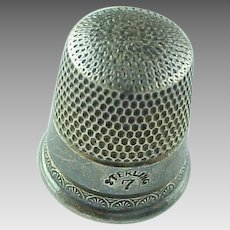 Vintage Sterling  Silver Size 7 Thimble