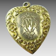 Carl Art Floral Gold Filled Heart Locket